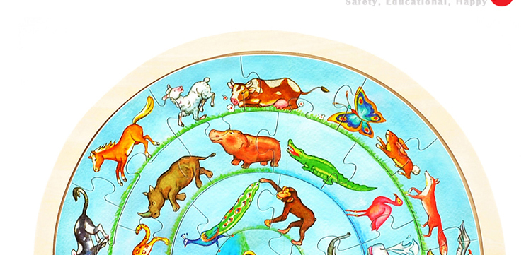 益智圆形动物拼图5779029*28cm