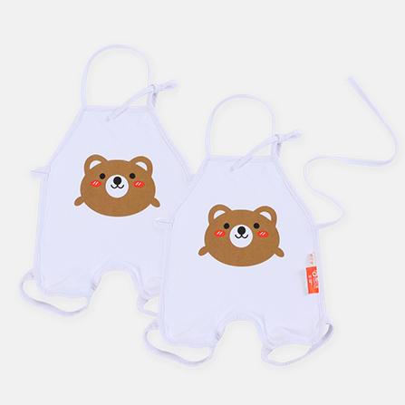 婴儿动物连脚肚兜 2件装 轻松熊