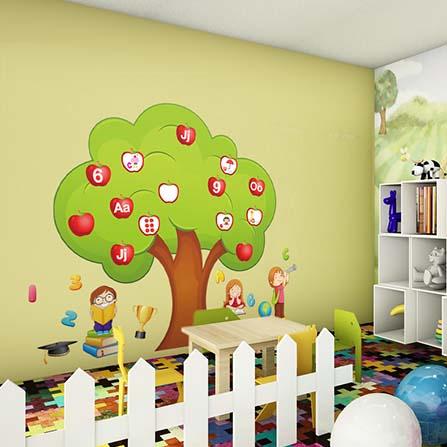 特大号苹果树英文字母及数字儿童早教学习背景墙贴 绿