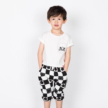 熊猫大侠时尚圆领短袖套装 白底黑格