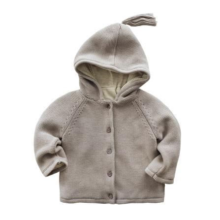 秋冬纯棉宝宝加厚毛衣外套婴儿毛线带帽 灰