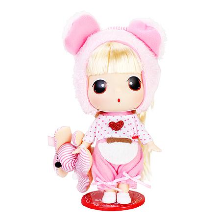 爱亲亲 18cm冬己芭比迷你娃娃女孩公主洋娃娃 小熊