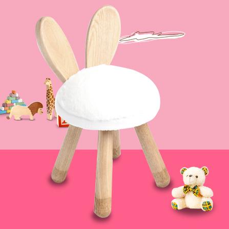 水曲柳可爱卡通创意宝宝椅 圣诞礼物 小兔
