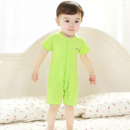 ... 婴儿短袖连体衣纯棉宝宝夏装短袖前开哈衣 苹果绿