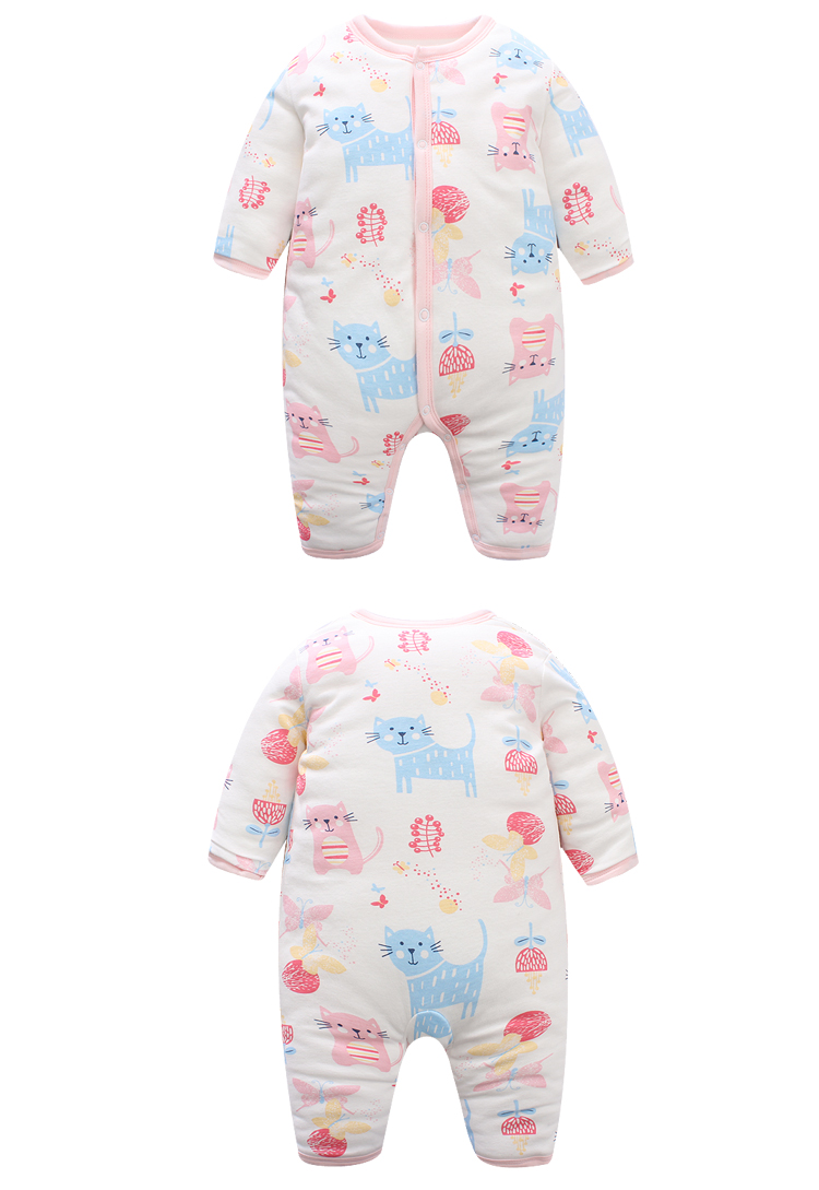 新生儿冬装婴儿加厚连体衣宝宝爬爬服哈衣纯棉婴幼儿衣服
