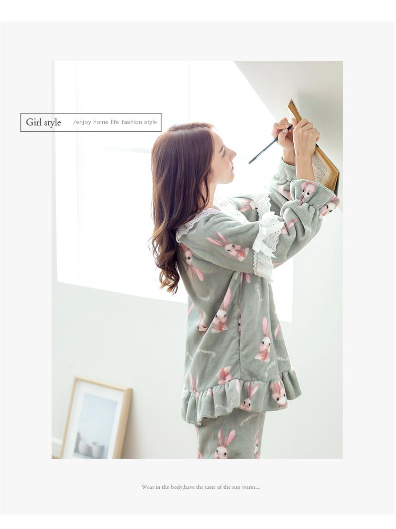 珊瑚绒睡衣女冬可爱卡通少女家居服冬季加厚法兰绒睡衣套装