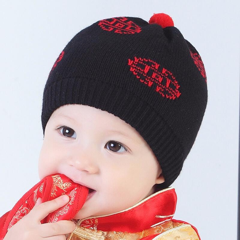 宝宝唐装帽婴儿地主帽皇帝帽儿童毛线帽周岁红帽子