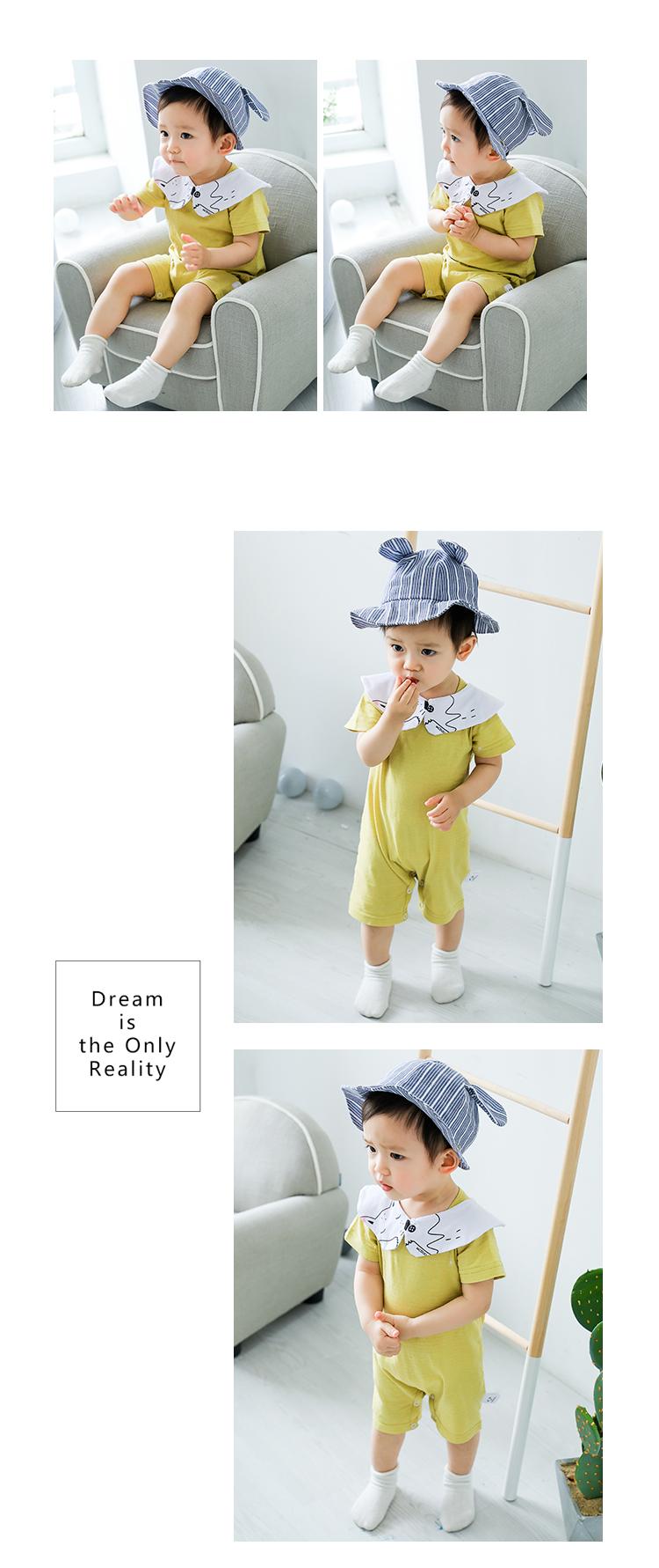 夏季宝宝连体衣0-2岁男宝女宝纯棉可爱短袖连体衣凉爽透风