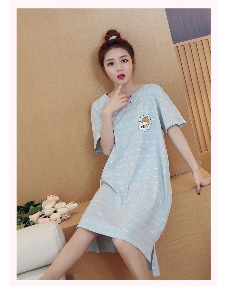 韩版纯棉睡裙女夏季短袖睡衣清新可爱夏天大码宽松孕妇夏装产后
