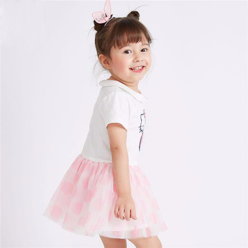 童装女童可爱公主裙宝宝拼接纱裙子夏季新款短袖连衣裙