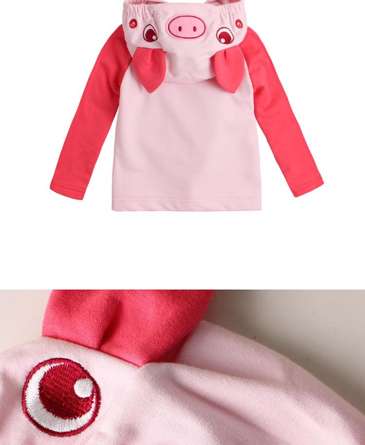 秋冬宝宝可爱小猪造型儿童小毛圈长袖连帽上衣卫衣外套