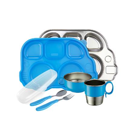 可爱巴士不锈钢餐具七件套(蓝色)