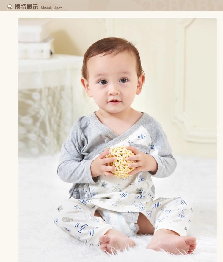 有机棉新生儿宝宝和尚服系带上衣