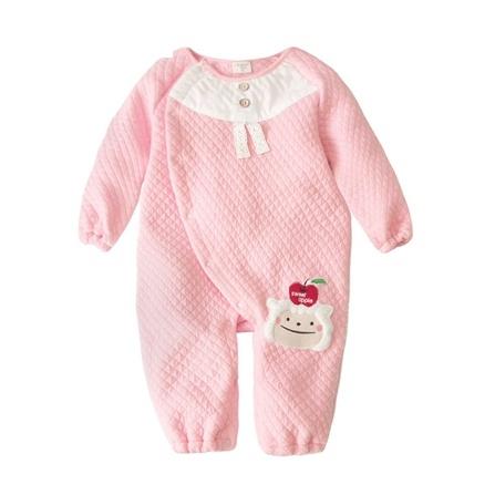 > augelute 秋冬款宝宝衣服可爱保暖空气棉动物造型长袖连身衣-粉色