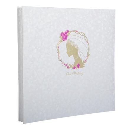 12寸日本进口diy覆膜粘贴式情侣婚礼相册 花环新娘 白图片
