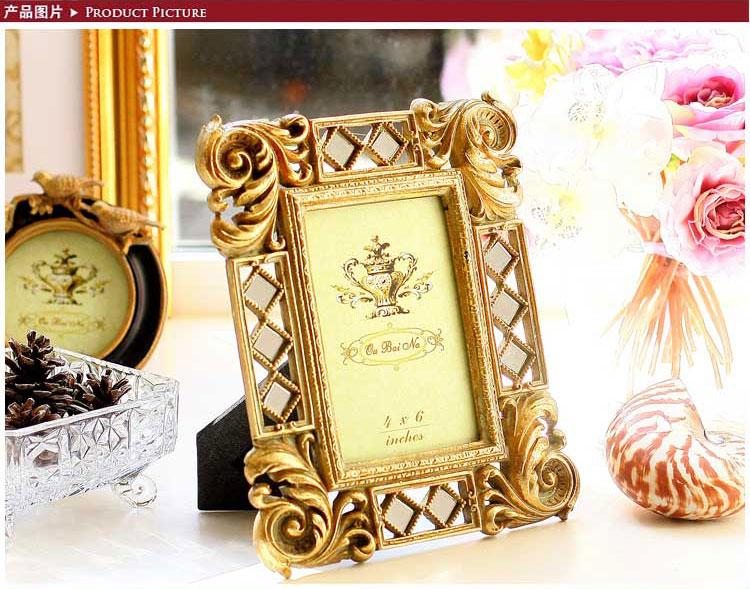 欧式高贵复古镂空金色6寸相框a款