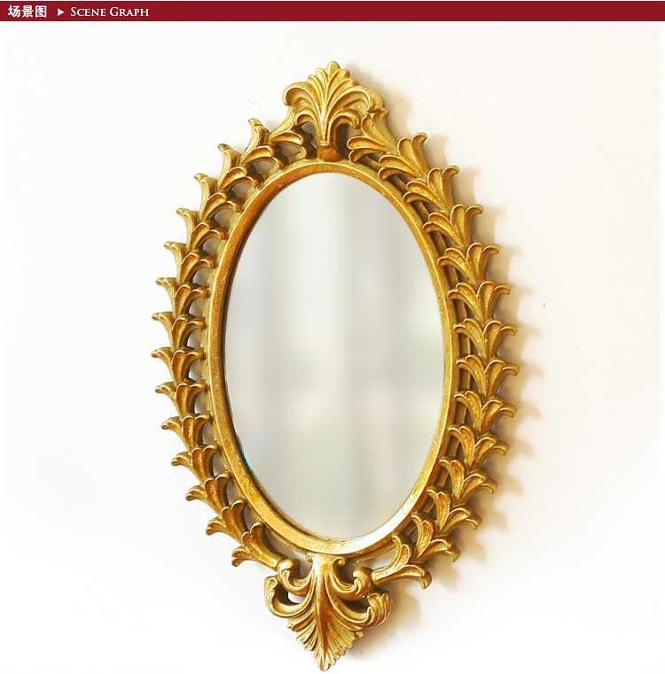 欧式复古镂空金色雕花装饰镜 金