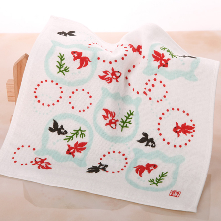和风小金鱼缸纱布方巾 纯棉小毛巾 高档手帕 白