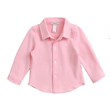 宝宝纯棉针织长袖衬衫 婴儿上衣服13057 浅粉