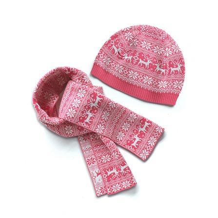 喜庆麋鹿图案婴儿保暖针织帽子围巾套装 红