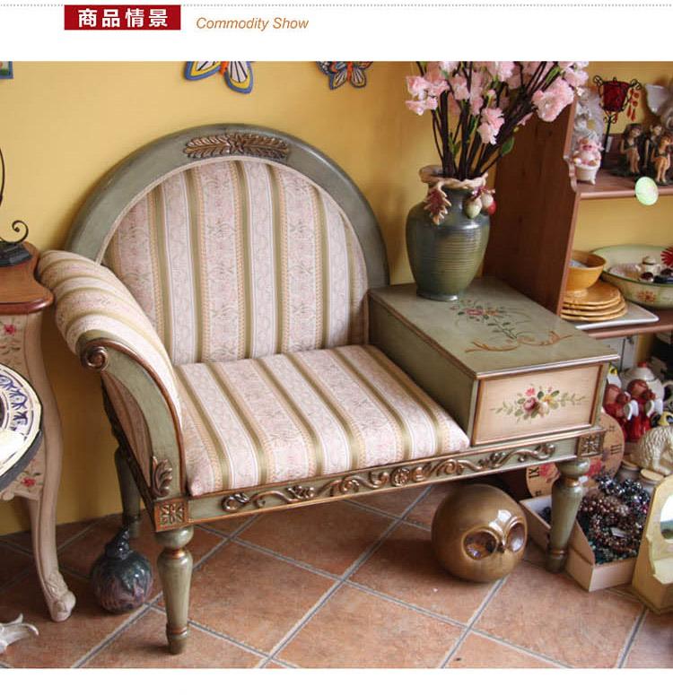 手绘牡丹花欧式田园单人沙发椅 绿 品牌:鱼西美屋 分类:家具/床椅