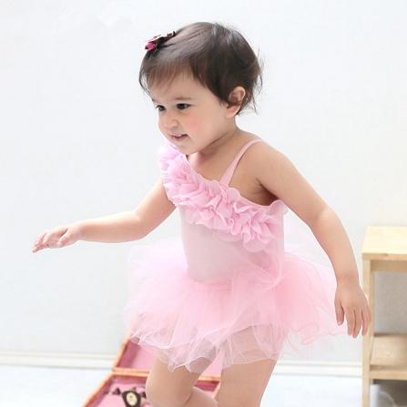 夏款女宝宝宝可爱公主无袖纱纱包屁裙子 粉