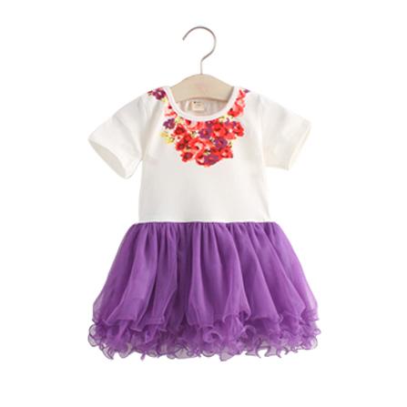 印花蓬蓬裙连衣裙 紫