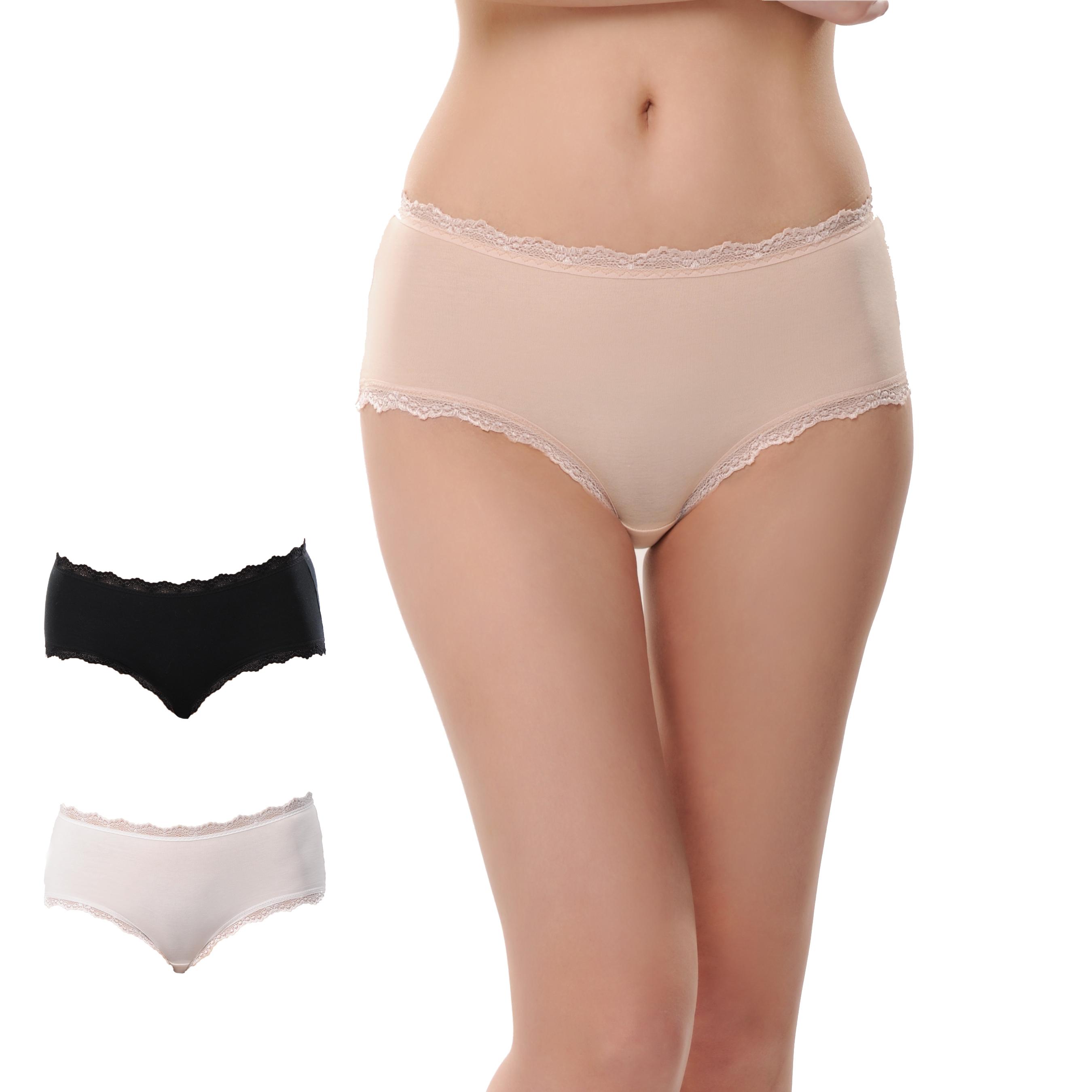波浪花边女士三角纯棉内裤三条装