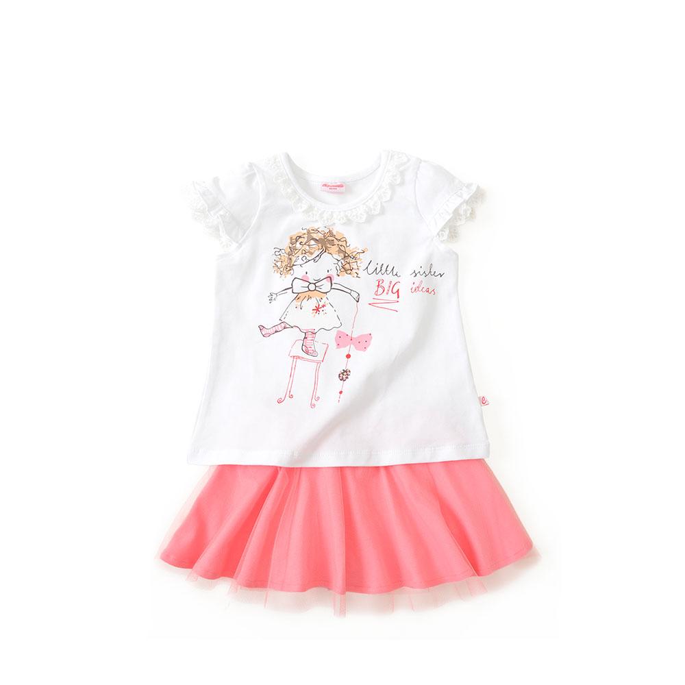 女宝宝卡通蕾丝t恤短裙套装