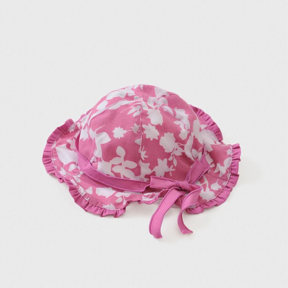 女宝宝纯棉花边六角帽婴幼儿帽子 紫红