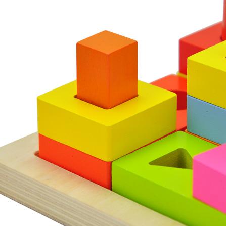 思维发散系列形状叠叠高积木玩具 彩